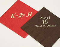 Personalized imprinted napkins available from Initial It Please